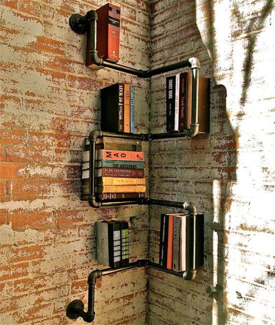 Industrial Corner Pipe Shelf 2