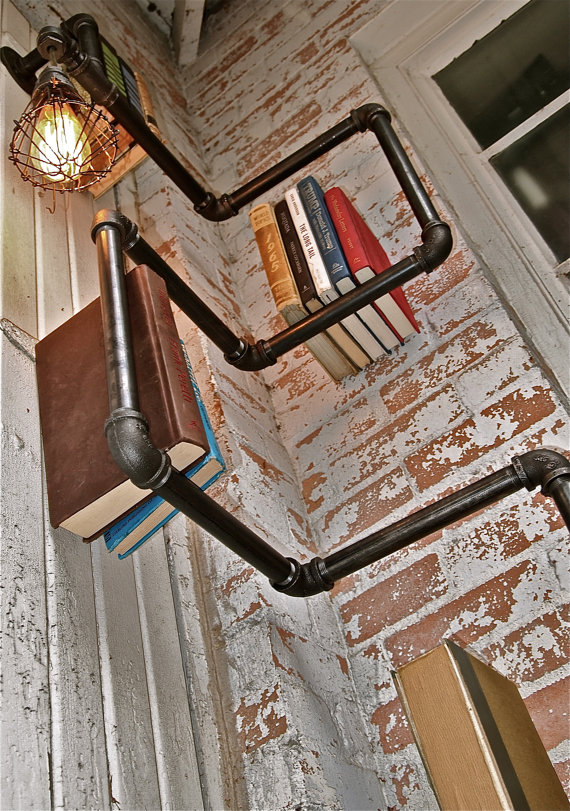 Industrial Pipe Corner Shelf with Pendant Lighting 1