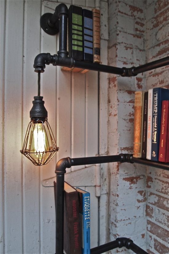 Industrial Pipe Corner Shelf with Pendant Lighting 3
