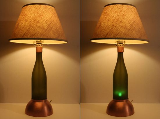Recycled Wine bottle lamp by Zuma Creations