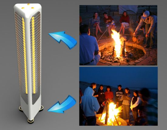 Campfire inspired space heater warms everyone around - Heating small spaces concept ...