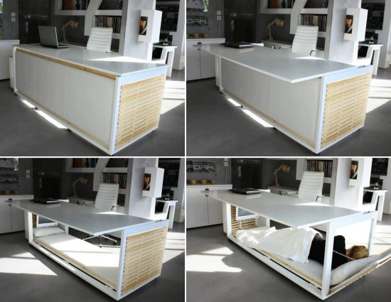 of life is a clever desk that converts into a bed