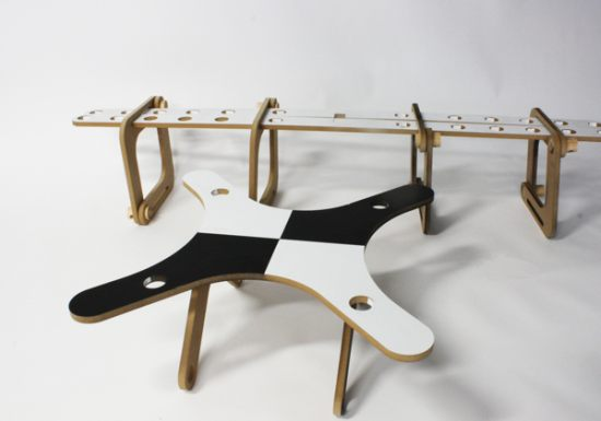 X-Lim bench and table by Jorge Olvera