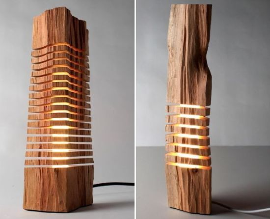 Minimalist split wood lights look more like an artistic for Wooden art home decorations