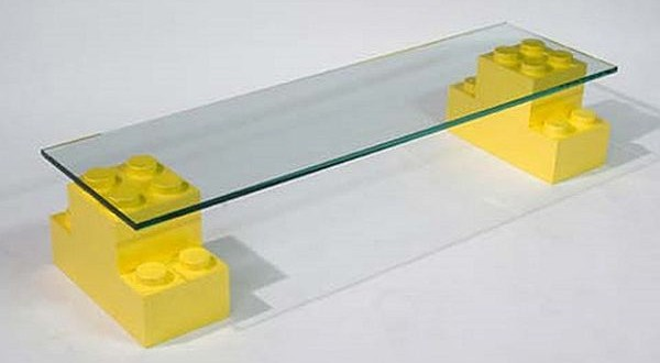 Luna block glass table