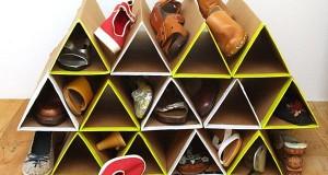 Triangular shoe rack