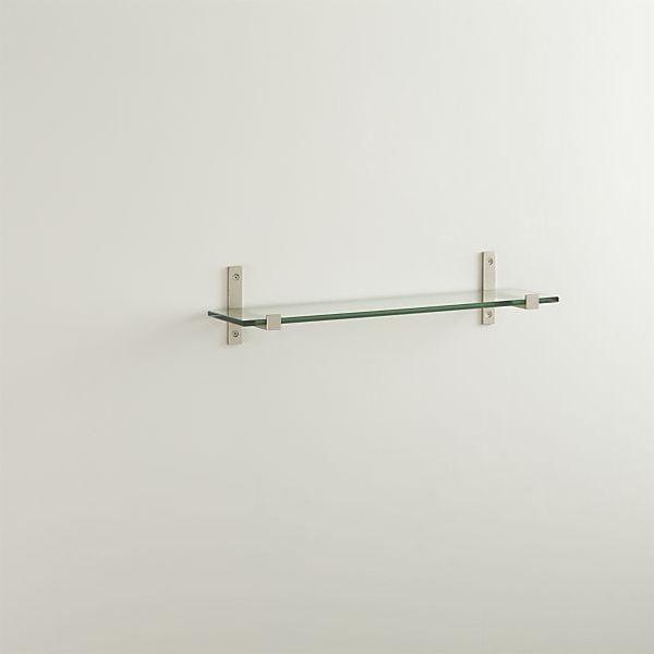 Glass Shelf with Brushed Silver Brackets