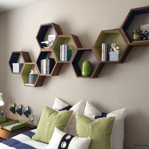 Geometrical shaped floating shelves